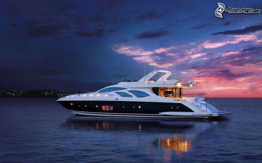 luxusná loď, more, podvečer