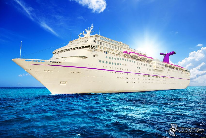 luxusná loď, more, slnko