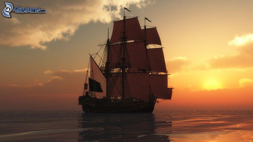 plachetnica, západ slnka za morom