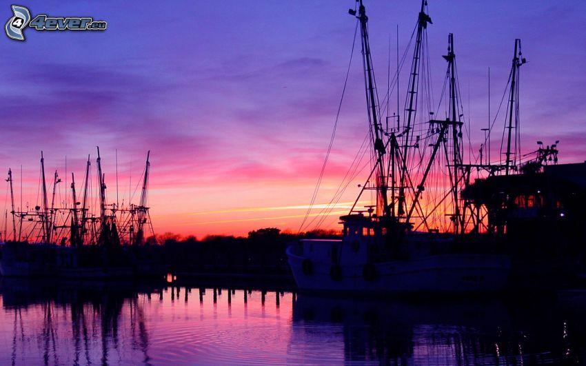 prístav, lode, večerná obloha