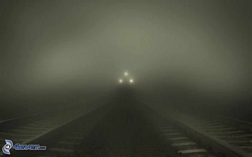 vlak, svetlá, koľajnice, hmla