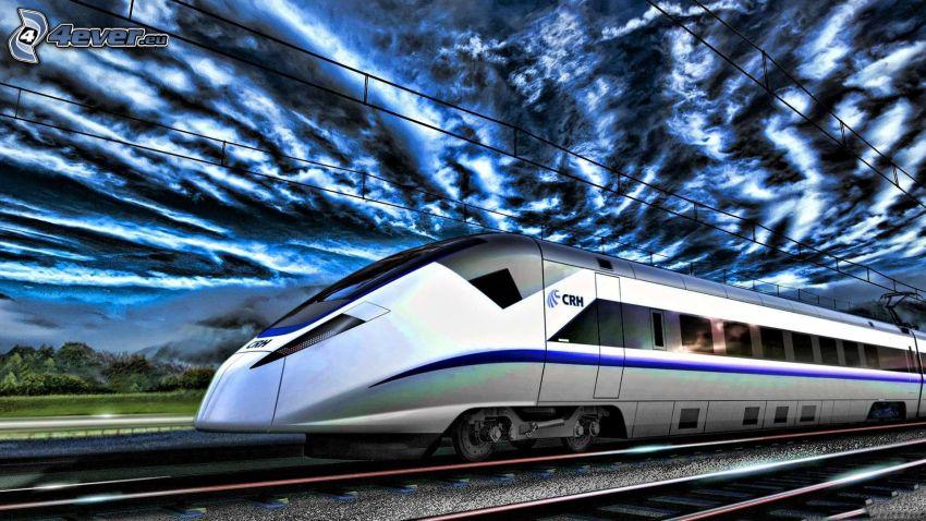 CRH, vlak, železnica, HDR