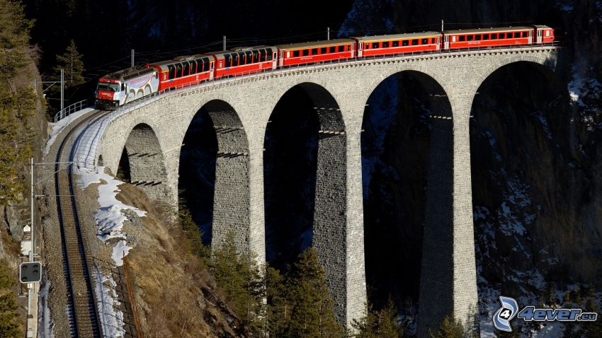 Landwasser Viadukt, Švajčiarsko, vlak, železničný most