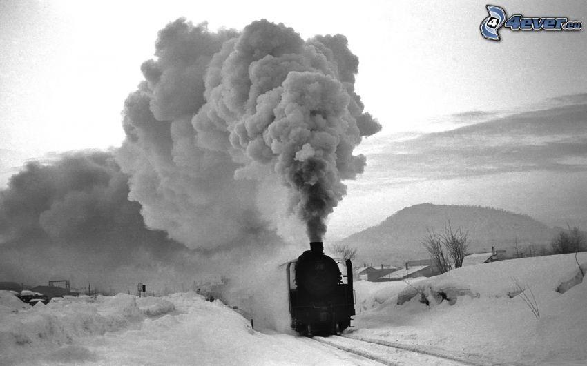 parná lokomotíva, sneh, čiernobiela fotka