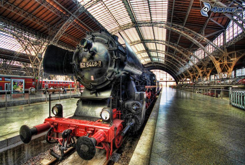 parná lokomotíva, železničná stanica, HDR