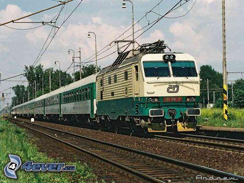 rýchlik, lokomotíva, vlak, koľajnice, železnica