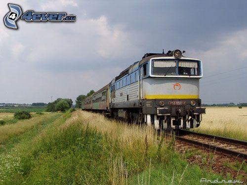 vlak, lokomotíva, koľajnice, obloha, tráva