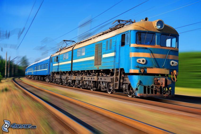 vlak, lokomotíva, koľajnice, rýchlosť