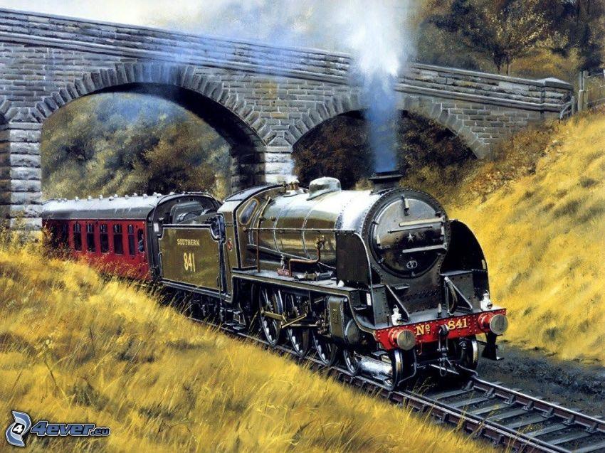 vlak, parná lokomotíva, kamenný most, obraz, kreslené