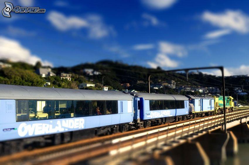 vlak, železničný most, diorama