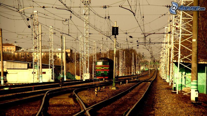 železnica, lokomotíva, koľajnice