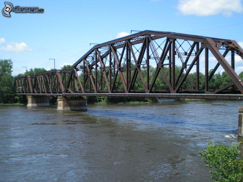 železničný most, rieka