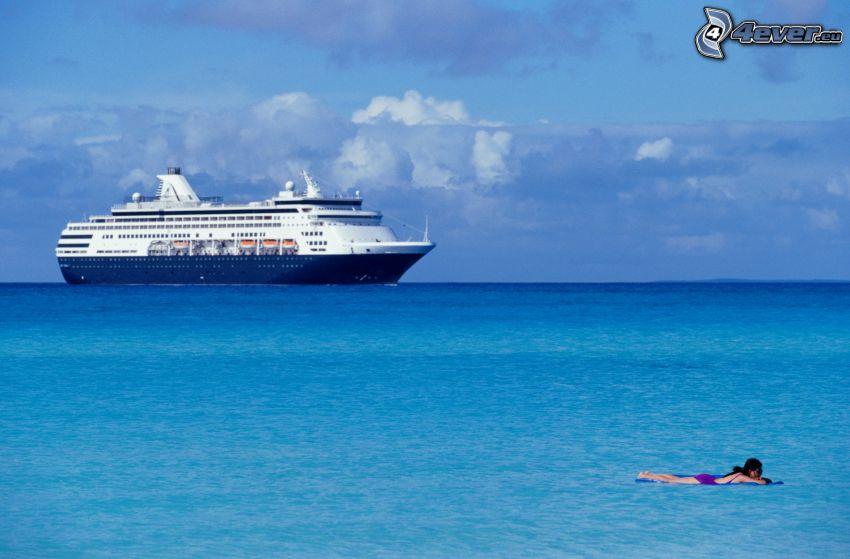 výletná loď, more, žena