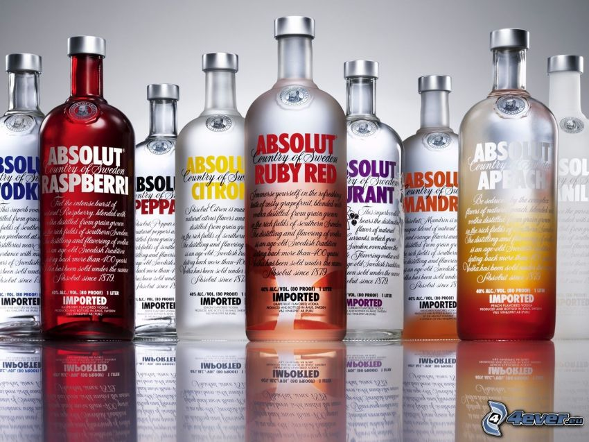 Absolut Vodka, fľaše