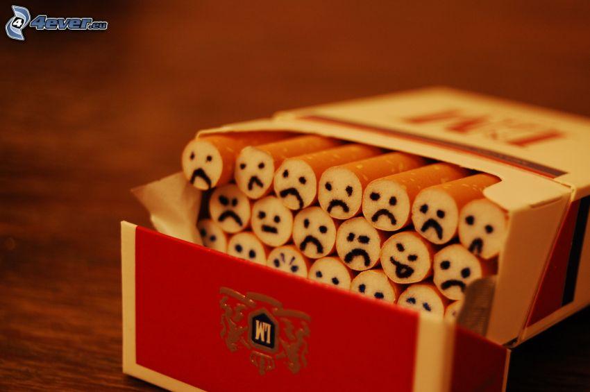 cigarety, smajlíky