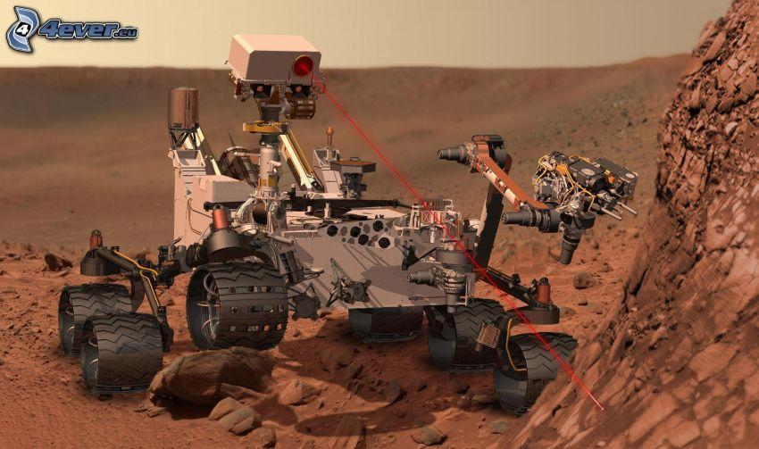Curiosity, Mars Science Laboratory, robot, laserové lúče