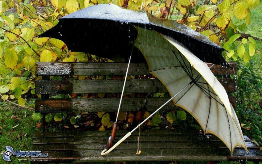 dáždniky, lavička, dážď