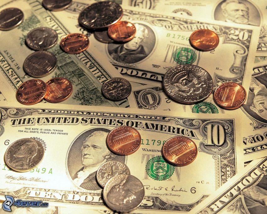 doláre, mince, bankovky