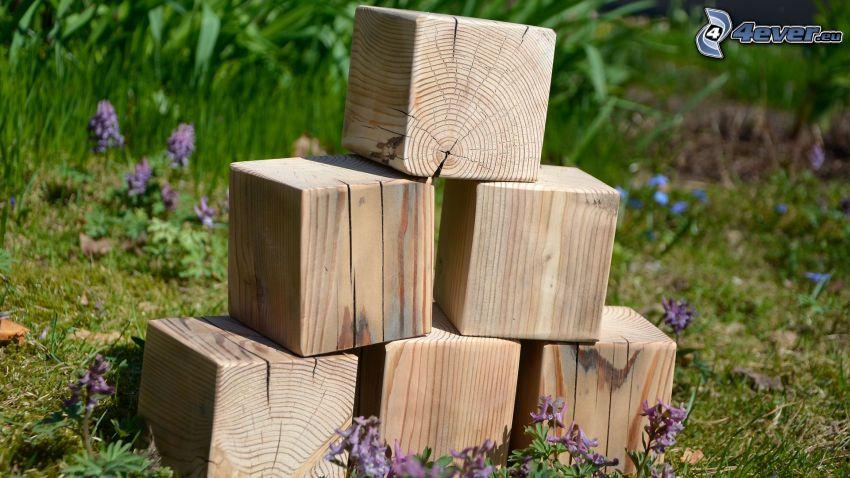 drevené kocky, fialové kvety
