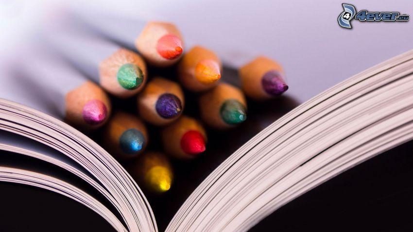 farebné ceruzky, kniha