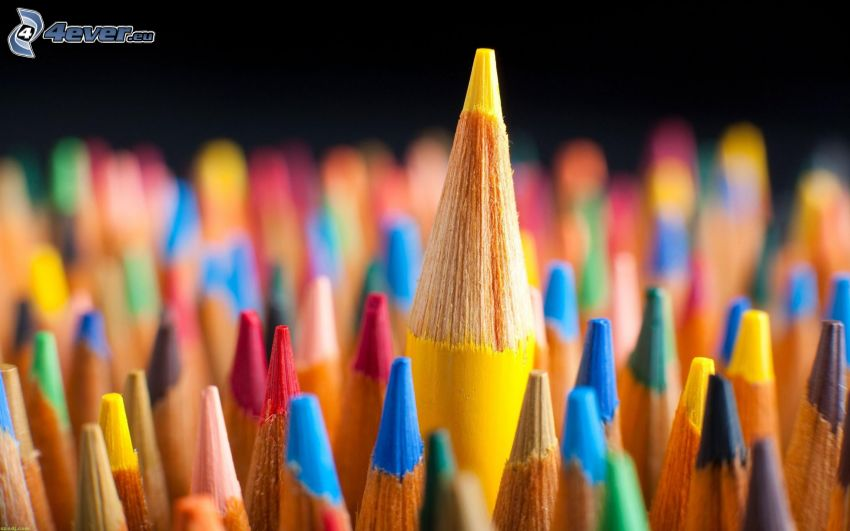 farebné ceruzky, žltá