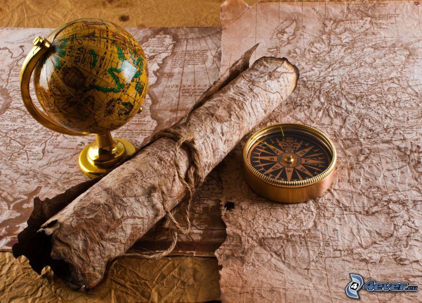 historická mapa, kompas, glóbus