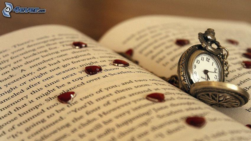 historické hodinky, kniha, srdiečka