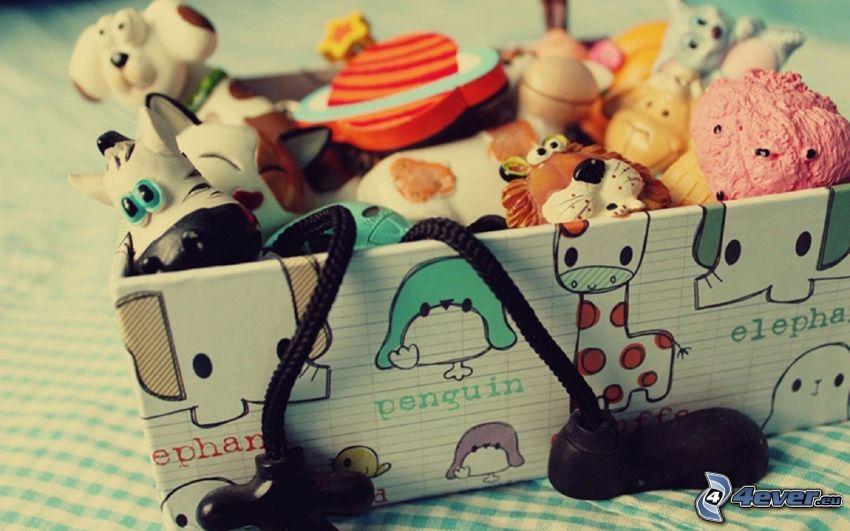 hračky, krabica