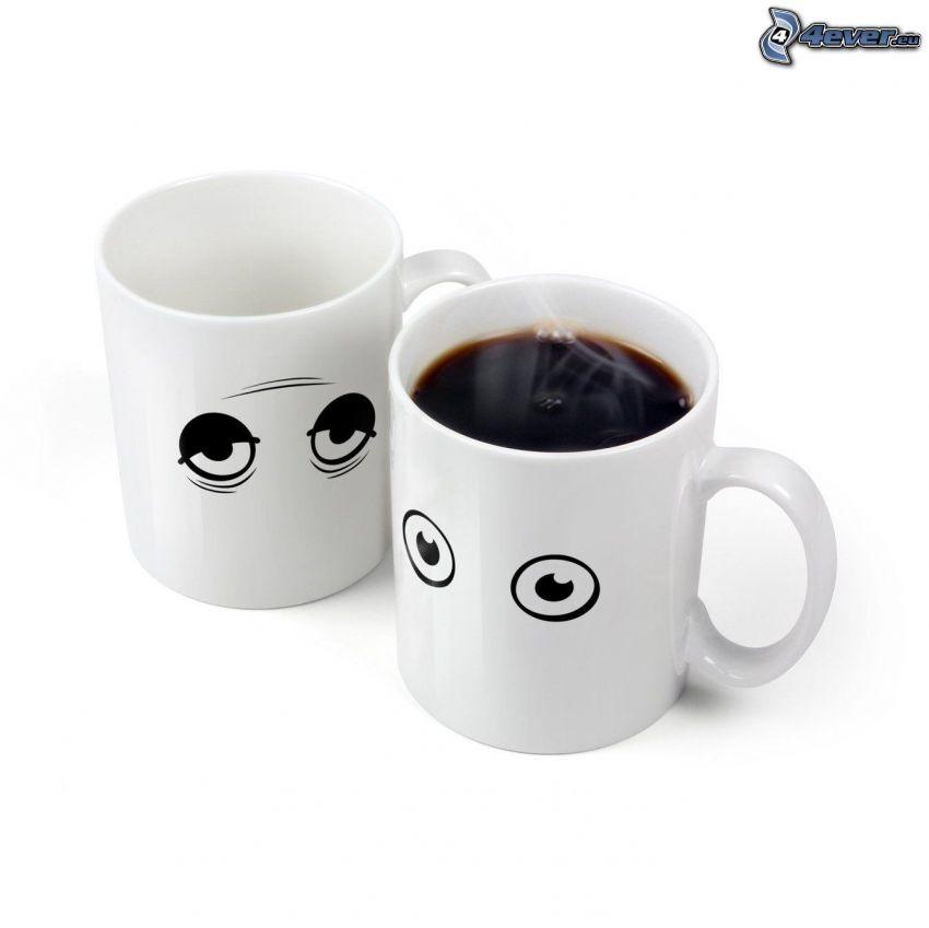hrnčeky, oči, káva