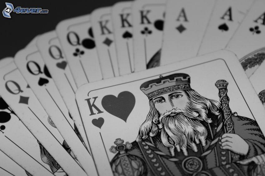 karty, čiernobiele