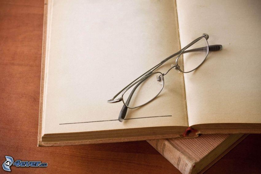 kniha, okuliare