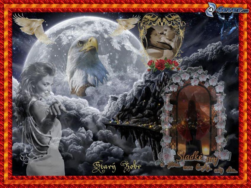 koláž, orol, žena, mesiac
