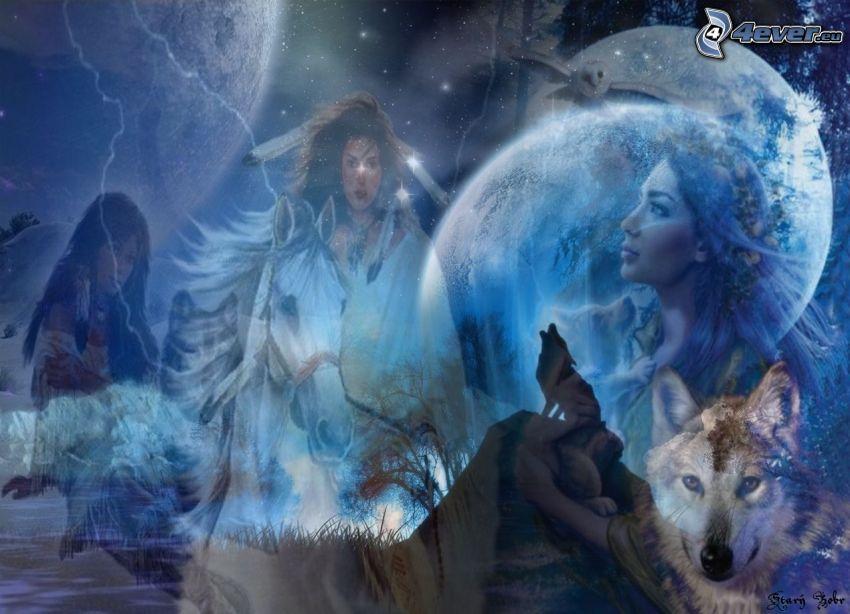noc, vlky, ženy, mesiac, koláž