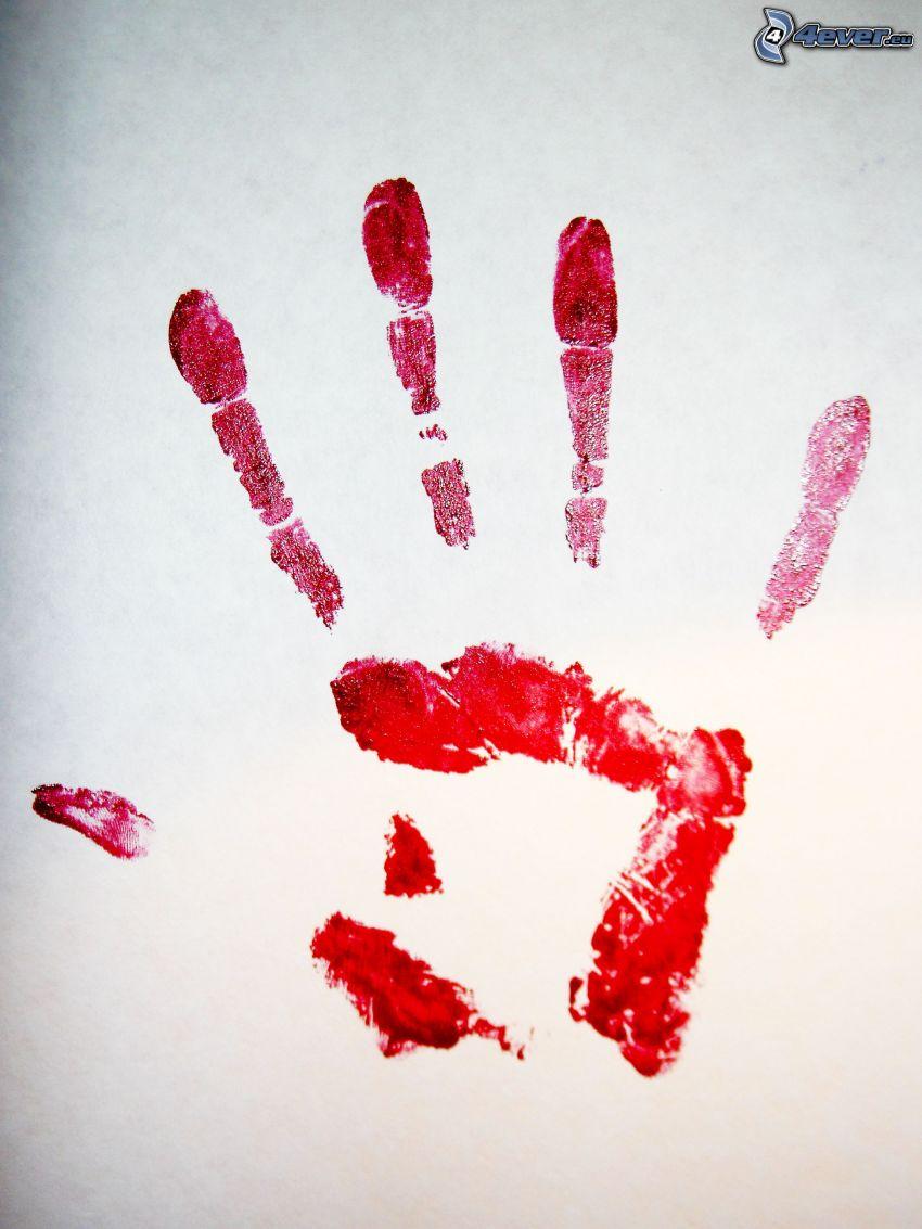 odtlačok ruky, červená farba