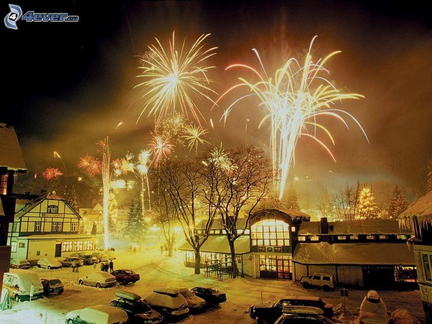 ohňostroj, dedinka, nový rok