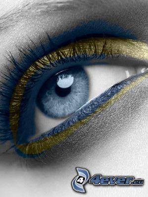 oko, pohľad, modrá, umenie