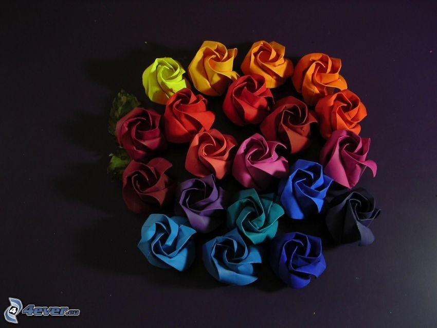 origami, ruže, farebné papiere