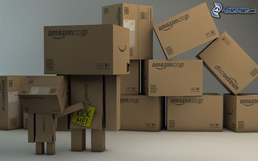 papierový robot, škatule, Kick me!