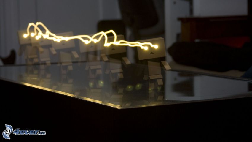 papierový robot, sklo, lightpainting