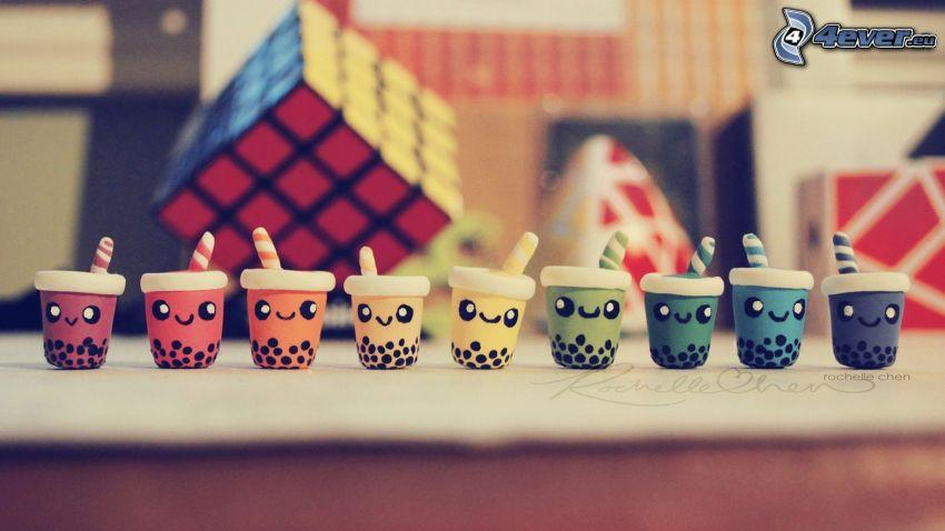 poháre, smajlíky, Rubikova kocka