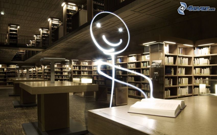 postavička, knižnica, lightpainting