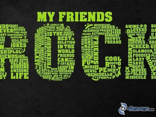 priatelia, rock, text