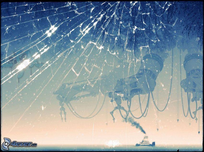 rozbité sklo, parník