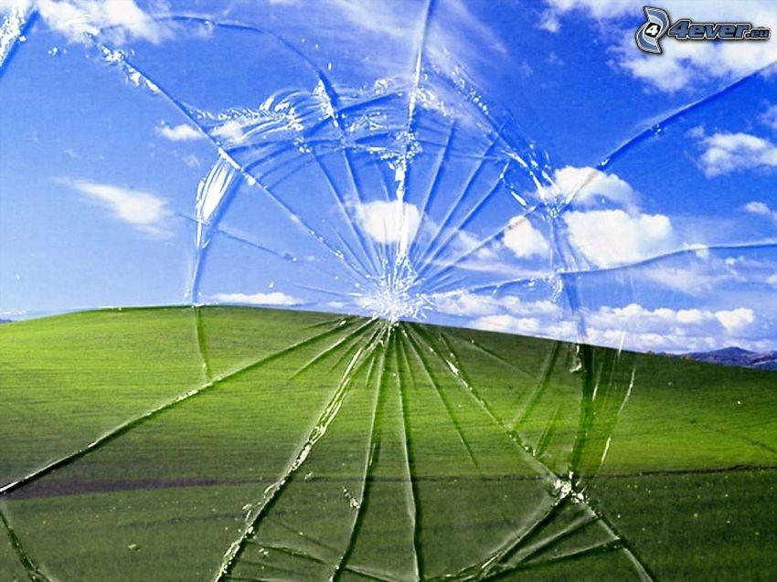 rozbité sklo, pozadie, Windows XP