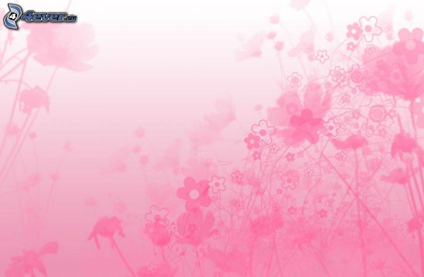 ružové pozadie, digitálne kvety