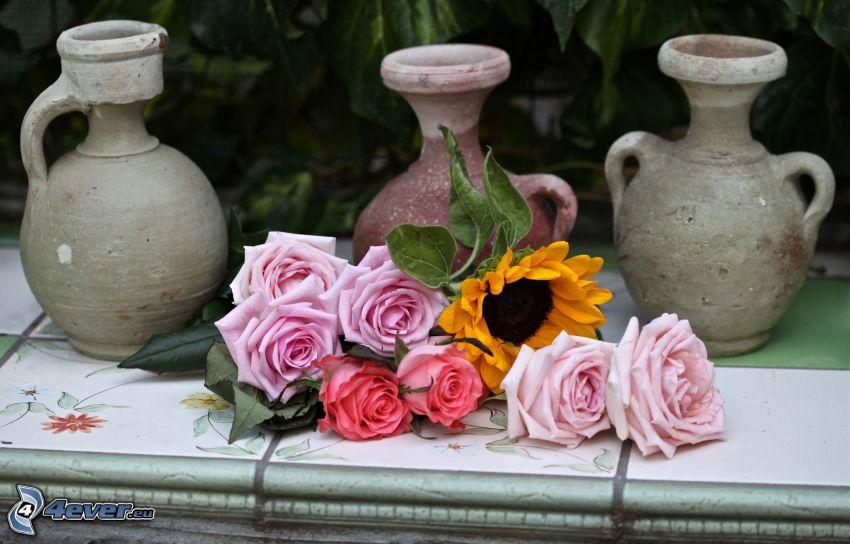 ružové ruže, váza