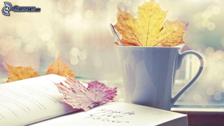 šálka, kniha, suché listy