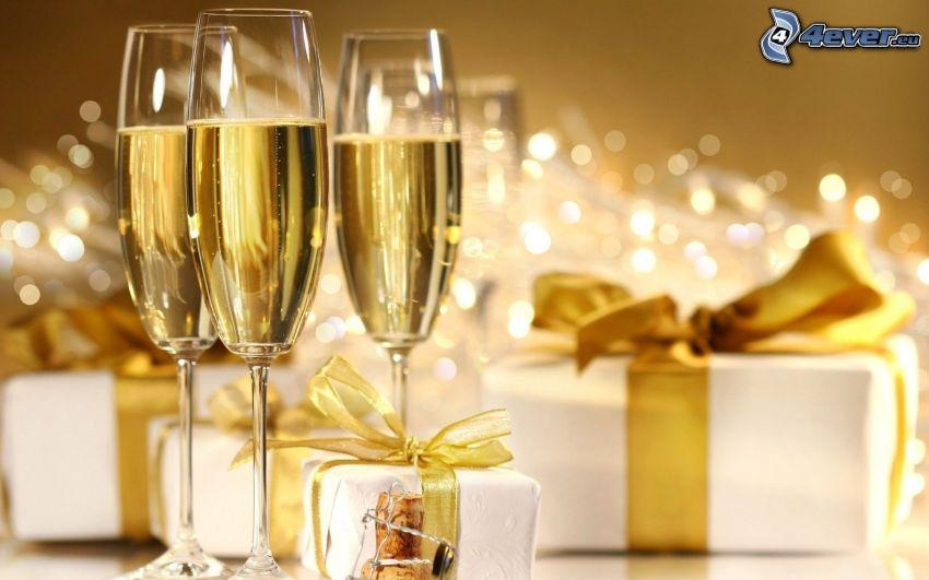 šampanské, darčeky