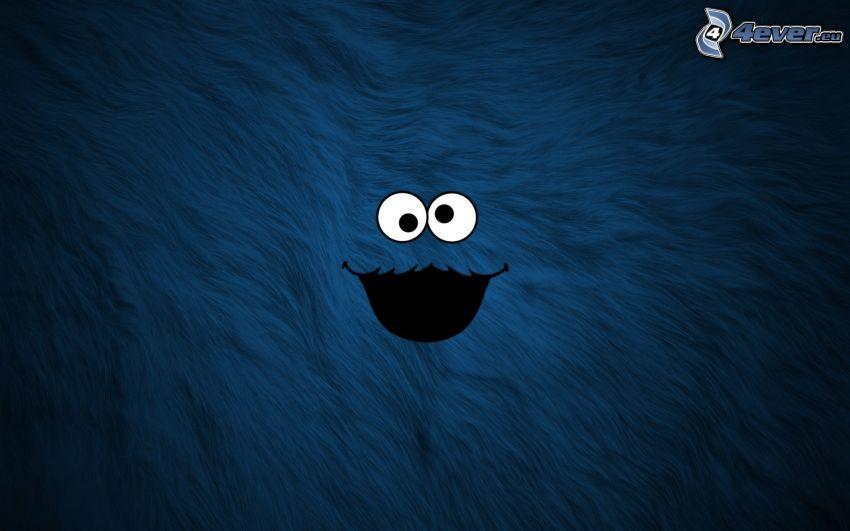 smajlík, oči, modré pozadie