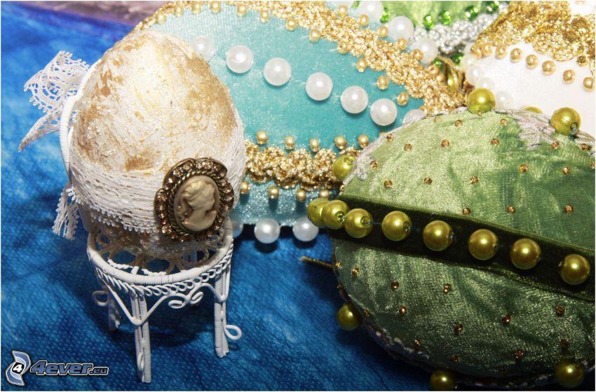 šperky, vajcia, perly